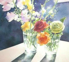 акварельные цветы Абе Тошиюки