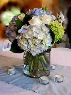 blue and white centerpiece for wedding  blue centerpiece by Flour and Flower Designs