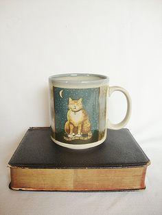 vintage cat mug otagiri japan porcelain stoneware by Sassydoggs, $10.00