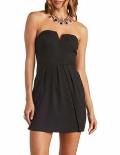 Pleated Plunging Sweetheart Strapless Dress: Charlotte Russe