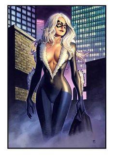 Black Cat commission / NYCC print by Jim Cheung Comic Art Comics Anime, Comic Manga, Comic Art, Marvel Women, Marvel Girls, Comics Girls, Marvel Females, Heros Comics, Marvel Dc Comics