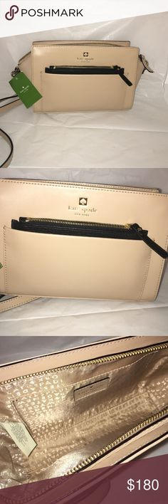 NWT Kate Spade Adelia Crossbody Kate Spade Adelia Crossbody in Nude with Black Combo. NWT 100% Authentic Retail: $248. Removable Strap and Authentication Included. WILLING TO NEGOTIATE!! kate spade Bags Crossbody Bags