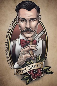 Stay Sharp Would you like T-shirt with this print? Click this pin – Tattoo Tattoos 3d, Bild Tattoos, Tattoo Drawings, Tattoos For Guys, Cool Tattoos, Barber Logo, Barber Tattoo, Neo Tattoo, Barber Shop Decor