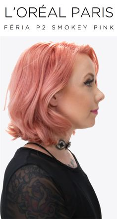 Megan Massacre rocks L'Oreal Paris Feria Smokey Pastels in P2 Smokey Pink. Transform light blond or bleached hair into shimmery, pastel pink color.