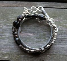 Beaded Leather Wrap Bracelet Silver Brown Smokey by prairiefunk, $58.00