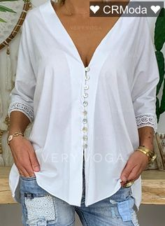 Button Up Casual Solid Lace Sleeves Polyester V-Neck Blouses, veryvoga Casual Tops For Women, Blouses For Women, Mode Outfits, Fashion Outfits, Punk Fashion, Lolita Fashion, Shirt Blouses, Shirts, Half Sleeves
