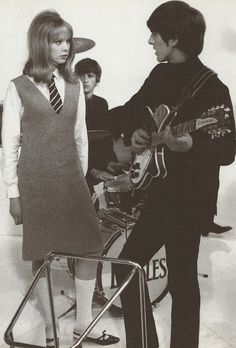 Pattie Boyd, Ringo Starr & George Harrison on the set of A Hard Day's Night (1964)