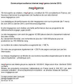 megagence.fr à vu son audience bien augmenter en 2012