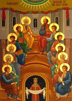 Pentecost Icon - Decent of the Holy Spirit Religious Images, Religious Icons, Religious Art, Catholic Art, Catholic Saints, Monastery Icons, Andrew The Apostle, La Pieta, Jesus Painting
