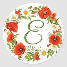 Pretty Floral Wreath Happy Mother's Day Classic Round Sticker   Zazzle.com Easter Stickers, Round Stickers, Mothers Day Classic, Mothersday Cards, Flowers Gif, Christmas Mom, Christmas Presents, Monogram Wreath, Age