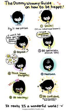 Cute! The Dummy Wummy Guide on How To Be Happy :: happy monsters