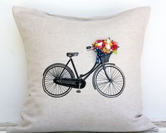 i love this pillow cover.  those flowers are too cute. :: Decorative Bicycle Pillow Cover Bicycle Basket of by AppleWhite