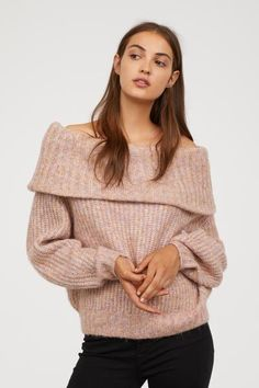 Off-the-shoulder Sweater - Light pink melange - Ladies  d649631ae