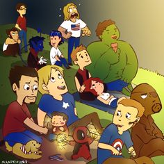 Avengers and X-Men watch fireworks!  (LOL - look at baby Deadpool!)