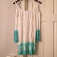 Dress White with blue ombré tie dye dress. Off the shoulders/cold shoulders summer dress. Size sm Gabriella Rocha Dresses Mini