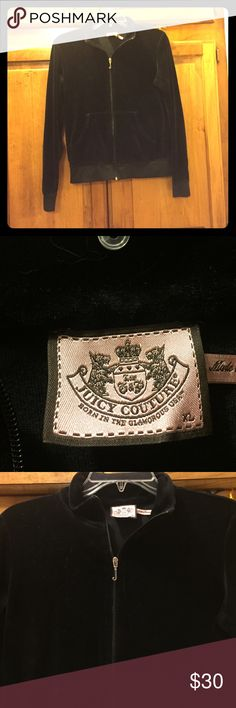Juicy couture velour jacket Black juicy velour jacket. Zipper in front and front pockets. Does not have a hood. Size is XL but fits more like a large. Juicy Couture Jackets & Coats
