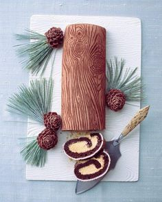 Yule Logs Cake Recipe | Take Christmas to the next level with this highly detailed Yule log cake, complete with wood-grain pattern and chocolate pinecones. ❤ pin @ I Brake For Cake // #desserts #I Brake For Cake