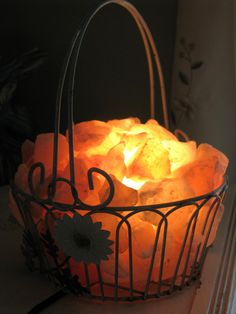 Himalayan Salt Lamp Heart Wire Basket With By