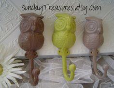 Set of 3 Darling Owl Iron Hooks. Modern Brown, Vintage Yellowish Green, Tan. Shabby Retro. Cottage Chic. Owl Nursery Decor