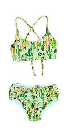 399ccb5582 Maylana Swimwear Maylana Kids Girl Swimmingsuit marvie criss cross bralette  top hispter cactus style bottom bikini set
