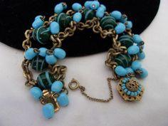 MIRIAM HASKELL Jewelry Bracelet Blue Green by AnnesGlitterBug