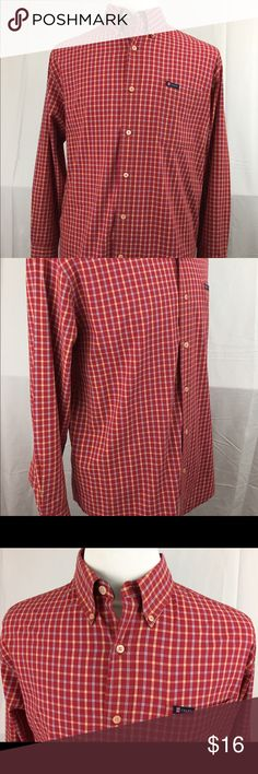 "Men's Chaps Easy Care Long Sleeve Shirt size L Men's Chaps Easy Care Long Sleeve Button Up front long sleeve pocket front shirt.  Size: Large  Color: Red Plaid with Chaps logo on chest pocket. 60% Cotton, 40% Polyester. Machine washable. Comes with extra button sewn into inside. In great shape with no rips or tears. Gently used  Measurements layed Flat: Shoulder Length: 21"" Arm length 24"" Shirt Length (taken from bottom of collar to bottom hem 32 1/2"" Chest: 24""  (Smoke Free, Pet Free, Clean…"