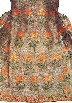"""in the Textile Museum in Lyon France ----- Back View : from """"The Book of Silk"""" by Philippa Scott """"An elegant 17th-century Persian coat with a diamond lozenge-shaped pattern impressed in the silver ground. Each lozenge is decorated with a marigold flower and bud, brocaded in coloured silk."""" (Philippa Scott)"""