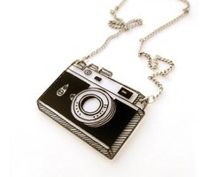 Retro Camera Shrink Plastic Necklace by DOODLEWORM on Etsy