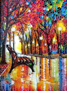 """The Bench"" ~ by St. Petersburg artist Iris ~This stained glass interpretation of the painting by artist Leonid Afremov. The painting is executed with stained glass paints, lacquers and contours using crystal paste Glass Painting Patterns, Glass Painting Designs, Stained Glass Patterns, Paint Designs, Mosaic Art, Mosaic Glass, Glass Art, Sea Glass, Decoupage Vintage"