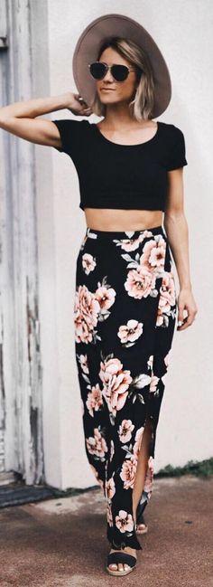 #summer #popular #outfitideas Black Crop + Black Floral Maxi Skirt