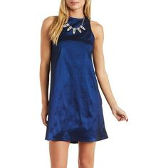 Charlotte Russe Navy Racer Front Taffeta Shift Dress by Charlotte... ($27) ❤ liked on Polyvore featuring dresses, navy, short evening dresses, sleeveless shift dress, short blue dresses, shift dress and navy blue dress