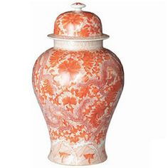 Temple Jar, Orange, Dragon and Floral Motif