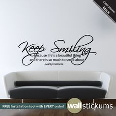 Items similar to Marilyn Monroe Wall Decal Keep Smiling Quote Living Room Bedroom Decor - on Etsy Marilyn Monroe Bedroom, Marilyn Monroe Quotes, Keep Smiling Quotes, Smile Quotes, Living Room Bedroom, Bedroom Decor, Bedroom Ideas, My New Room, My Room