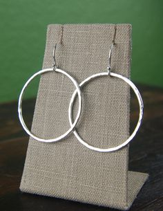 Large hammered circle earrings in sterling by jersey608jewelry
