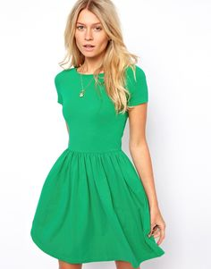 $38, Skater Dress With Slash Neck And Short Sleeves by Asos. Sold by Asos. Click for more info: http://lookastic.com/women/shop_items/62390/redirect