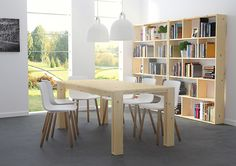 Mesa Arina en madera maciza pulida diseñada por Silvia Ceñal. En 880 mm de ancho, elige entre 880 (4 comensales), 1200 (6 comensales), 1800 (8 comensales) ó 2400 (10 comensales). Venta online en: www.muebleslufe.com #MueblesLUFE #madera #DIY #ecologico #mesa