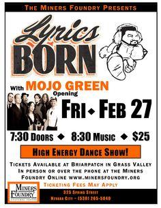 Lyrics Born with Mojo Green at the Miners Foundry, Nevada City, Friday, Feb 27th