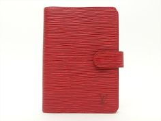 Louis Vuitton Authentic Epi Leather Red Agenda fonctionnel PM Diary cover LV #LouisVuitton #Bifold