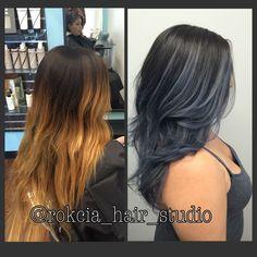 Slate grey bayalaged ombré  Hair transformation by @rokcia_hair_studio