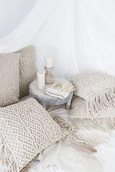 Losari Home & Woman ~ Photography by Villa Styling. Indrani and Kalyana Macrame Cushions with elegant Feather Headress losari.com.au