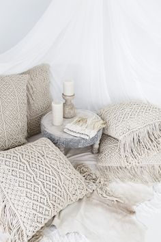 Losari Home & Woman ~ Photography by Villa Styling. Indrani and Kalyana Macrame Cushions with elegant Feather Headress losari.com.au