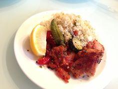chicken & vegetable grills with cuscus. チキン&野菜のグリルにクスクスを添えて⭐