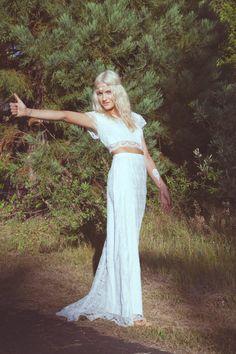 Ivory Lace Bohemian Bridal Gown Maxi Dress Crop Top Long Sleeve Wedding Dress |