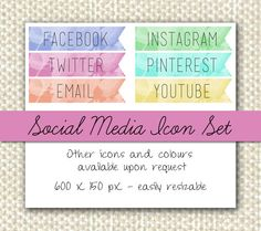 Pastel Social Media Icon Banner Set for Blog or by HannahsDrawer, £3.99