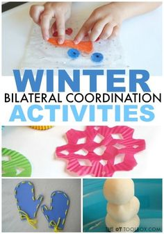 Kids will love these winter bilateral coordination activities to help develop the skills to use both hands together in a coordinated way! Snowman activities, snowflake activities, and other winter themed activities for use in occupational therapy and at home.