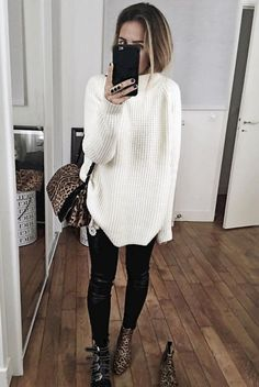 cozy baggy sweater with black skinnies winter outfit - different shoes though