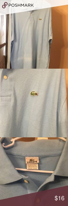 Lacoste Long Sleeve Polo Long sleeve Baby Blue lacoste Polo very good condition 8/10 PayPal preferred. Open to negotiation Lacoste Shirts Polos