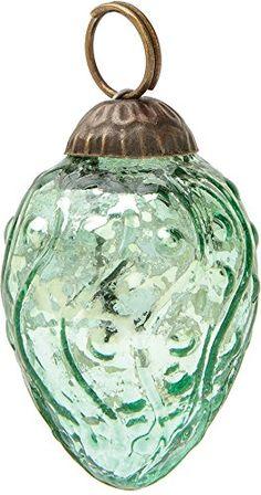 Luna Bazaar Mini Mercury Glass Christmas Ornament (Dotted Bulb Design, 1-Inch, Vintage Green) - Vintage-Style Decoration