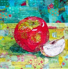"""AN APPLE a DAY Original Paper Collage Fruit Painting 6 X 6"""" on Gallery wrapped canvas Apple Painting, Fruit Painting, Painted Paper, Hand Painted, Paper Collage Art, Photo Canvas, Wrapped Canvas, Original Artwork, Breakfast Nook"""