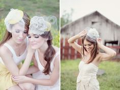 Have you thought about wearing a hat or fascinator instead of a traditional wedding veil?  Here are lovely examples of a fascinator (left) and vintage pillbox hat (right) styled with tulle and birdcage net veils.